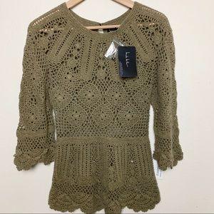 NWT NICOLE MILLER M crocheted sweater C
